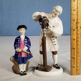 Royal Doulton The Wigmaker of Williamsburg and Boy from Williamsburg Figurines