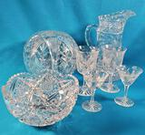 7 Pcs Cut Crystal Pitchers, Vases and Glasses