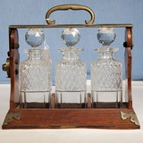 Betjemann's English Oak Tantalus Liquor Set with 3 Square Cut Crystal Decanters