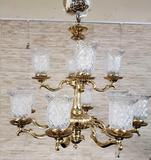 10 light Brass And Glass Chandelier