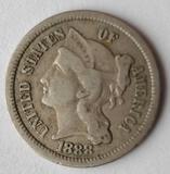 1888 Key Date Three Cent Nickel F