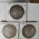 3 US Silver New Orleans Mint Morgan Dollars - 1886-O, 1887-O and 1888-O