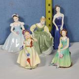 5 Royal Doulton and Other English Porcelain Girl Figurines