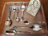 7 Sterling Silver Spoons & Italian Repousse Madonna & Child