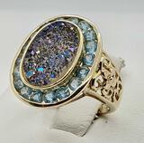14k Gold Iridized Druze Quartz & Topaz Ring