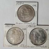 3 Morgan Silver Dollars -NM/UNC/MS 1884-O,1879-O,1881-O