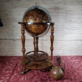 Vintage Old World Globe Rolling Bar & Matching Wine Decanter