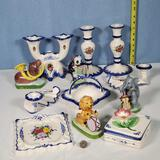 Portugal Floral Decorated Porcelain Collection and 4 Ucagco Animal Band Figures