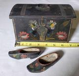 1899 Miniature Norwegian Painted Dowery Chest & Wooden Shoes