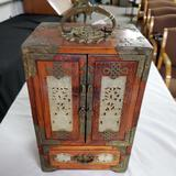 Chinese Wood And Jade Jewelry Box