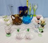 21 Retro Vintage Mid-Century Glass Pitchers, Vase, and Glasses