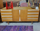 MCM American Of Martinsville Beech Wood & White Enamel Triple Dresser Credenza