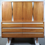 MCM American Of Martinsville Beech And White Enamel Gentlemens Chest Armoire