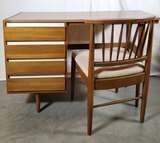 MCM American Of Martinsville Beech And White Enamel Desk And Chair