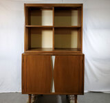 MCM American Of Martinsville Beech And White Enamel 2Pc Low 2 Door Cabinet With 4 Hole Cubby Topper
