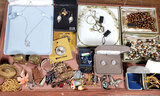 Tray of Jewelry & Other Curios
