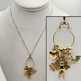 14k Gold Charm Holder Necklace w/ Charms