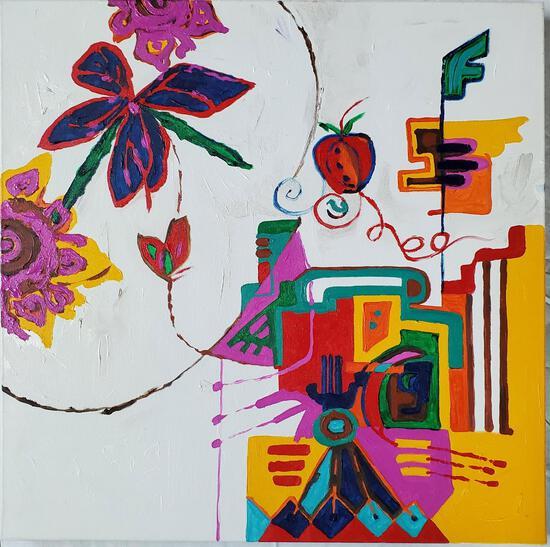 "Phyllis Trager Hyman (1936-2011) ""Forbidden Fruit"" Acrylic On Canvas"