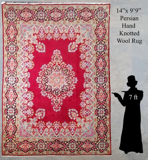 "14'x9'9"" Persian Hand Woven Wool Rug"