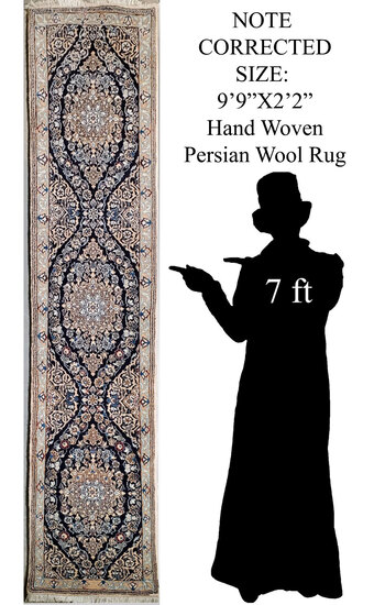 """EDITED -9' 9""""x2'2"""" Hand Knotted Persian Wool Rug Runner"""