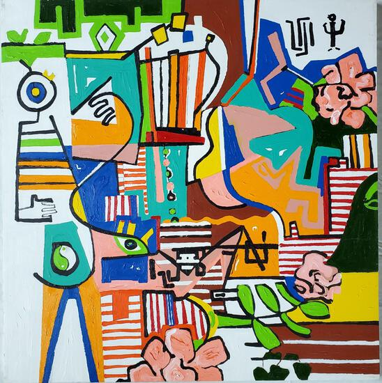 "Phyllis Trager Hyman (1936-2011)2005 ""Wait Til The Sun Shines Nellie"" Acrylic On Canvas"