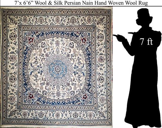 """7'x6'6"""" Persian Nain Hand Knotted Wool & Silk Rug"""