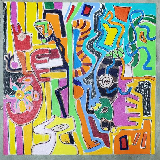 "Phyllis Trager Hyman (1936-2011) Acrylic On Canvas ""Parrot Snake"" 2003"