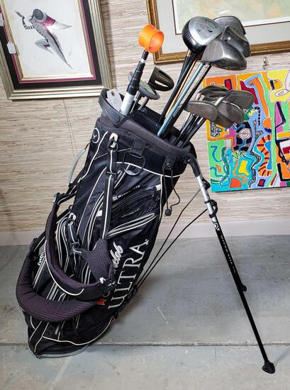 Callaway Hyper Lite 4.0 Michelob Ultra Golf Bag With Built in Stand Black & Silver & 16 Clubs