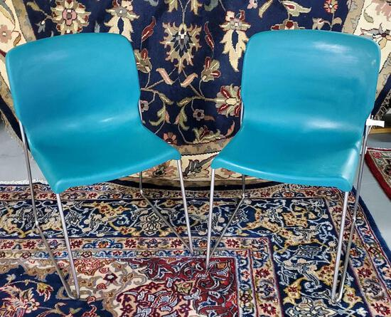 Pair Of Teal Fixture Furniture D-Chairs