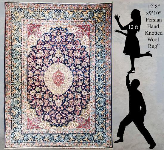 """12'10""""x9'8' Hand Woven Multi Color Persian Wool Rug"""