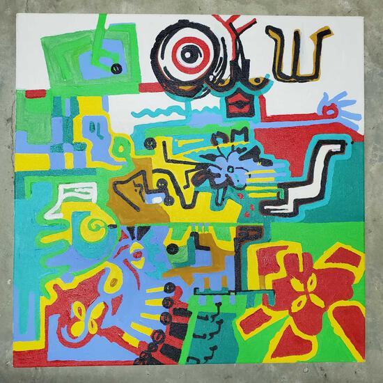 "Phyllis Trager Hyman (1936-2011) Acrylic On Canvas ""Face Shin"" 2003"