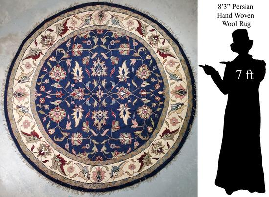 """Round 8'3"""" Persian Hand Woven Wool Rug"""