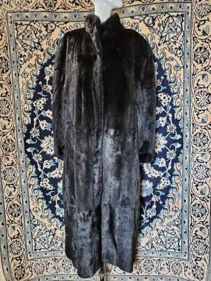 Full Length Reversible Black Mink & Leather Coat