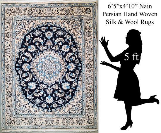 """6'5""""x4'10"""" Persian Nain Hand Woven Persian Wool and Silk Rug"""