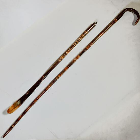 Cowboy, Western Highly Polished Stacked Steer Horn Cane & Long Handle Shoe Horn