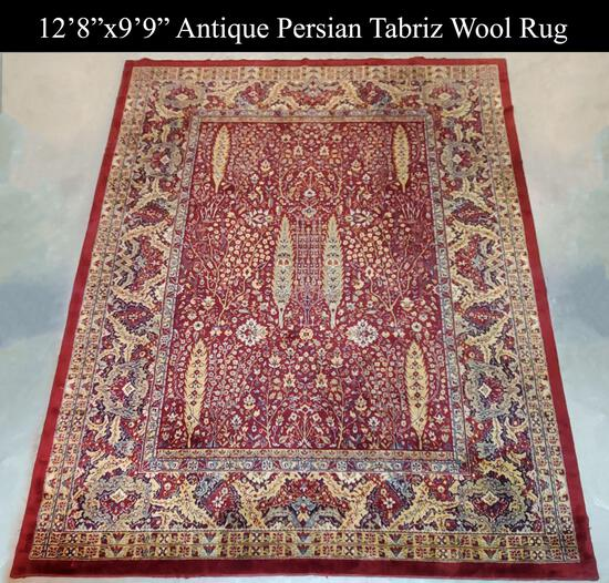 "Fine Antique Persian 12'8""x9'9"" Wool Rug with Cedar Tree and Floral Motifs"