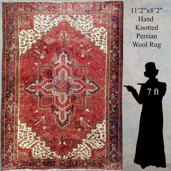 "135""x96"" Persian Heriz Hand Knotted Wool Rug"