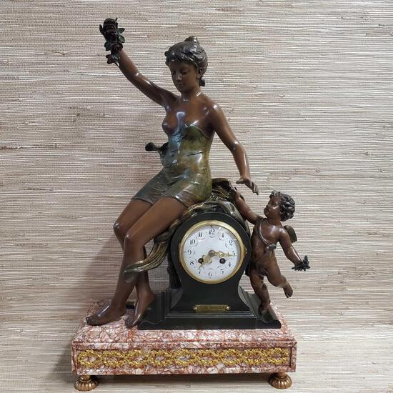 "23"" x 16"" Par J. Garnier {Jean Garnier French Sculptor} Clock With Spelter Woman & Chrub Figuries"
