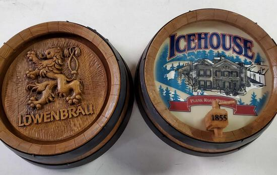 2 Beer Barrel Wall Button Signs Lowenbrau & Icehouse
