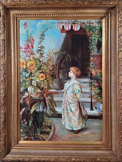Oil on Canvas Painting of Girl with Sunflowers by D Nattier