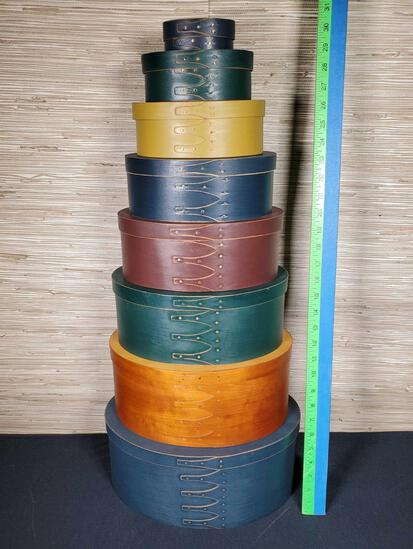 8 Stack Shaker Style Oval Covered Boxes with Natural Stain Colors