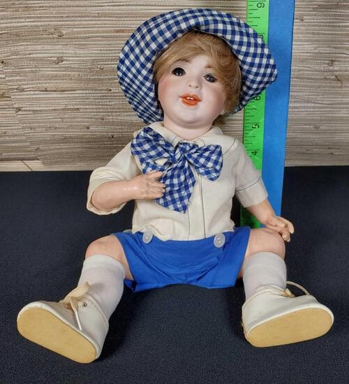 """12"""" Antique Seated French Boy Doll by S.F.B.J."""