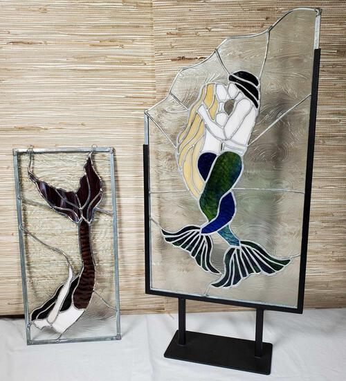 2 Signed Stained Glass Mermaid Panels