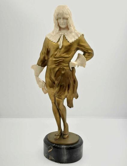 "Rudolf Marcuse (1878-1929) Gilt Bronze & Ivory Statue ""Edelmann, Chryselephantin"" Circa 1900"