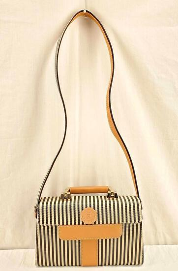 Authentic Vintage Fendi Penguin Striped Kelly Convertible Bag with COA
