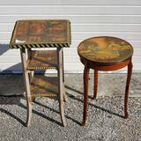 2 Vintage Decoupage Accent Tables