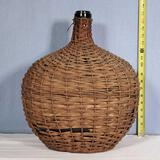 Antique Demijohn Carboy Bottle in Wicker Basketweave Wrap