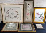 Collection Of 6 Silk On Silk Blind Stich Framed Panels