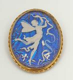 Gorgeous Antique Butterfly Wing Reverse Painting Fairy Cameo Pin Set in 9k Gold