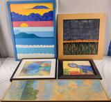 Kelly Hutchinson Lot Of 5 Abstract Paintings